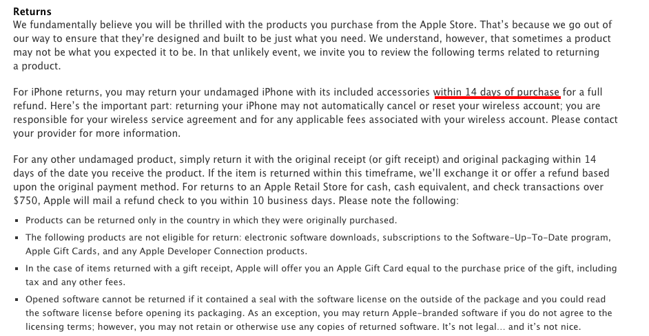 apple iphone return policy apple return policy now gives you only 14 days to return 13476