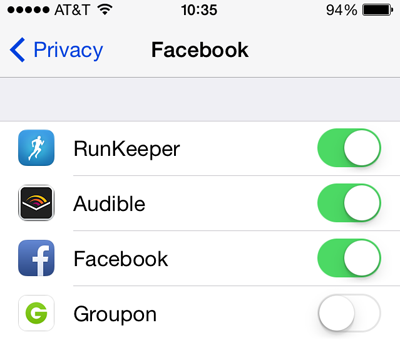 app privacy settings facebook