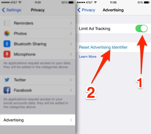 app privacy settings ad tracking