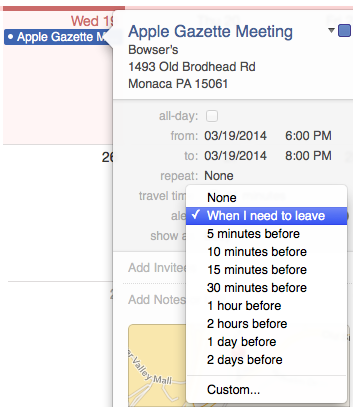 travel time os x alert