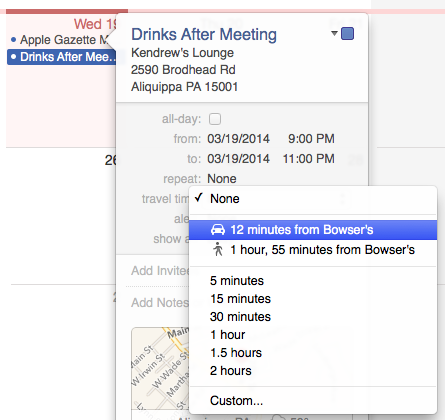 travel time from previous appointment os x