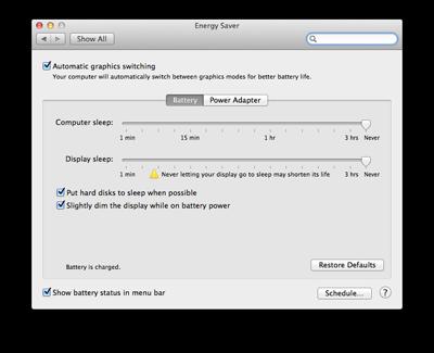 mac battery power settings