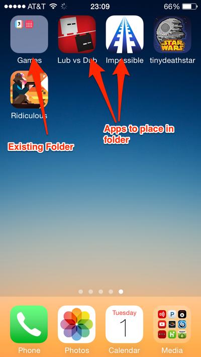 ios 7 nested folders start