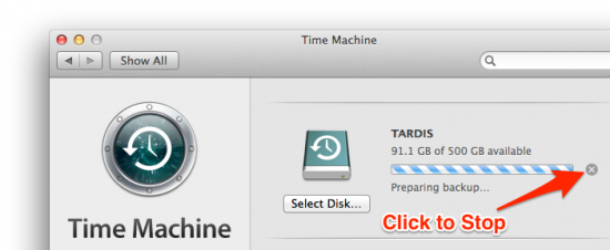 stop time machine backup
