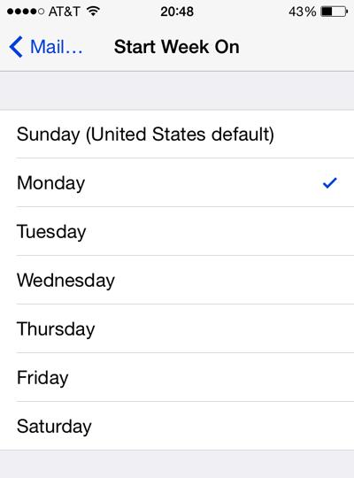 start ios calendar on monday