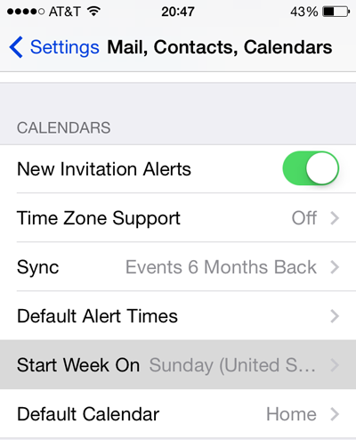 ios calendar start on monday