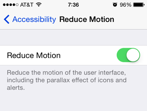 ios 7 appearance reduce motion