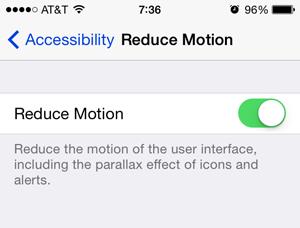 ios 7 appearance reduce motion