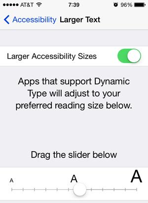 ios 7 appearance text size
