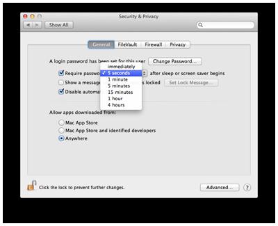 password on wake mac
