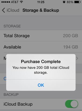 Upgrade iCloud Storage complete