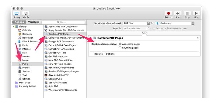 automator workflow combine pdfs