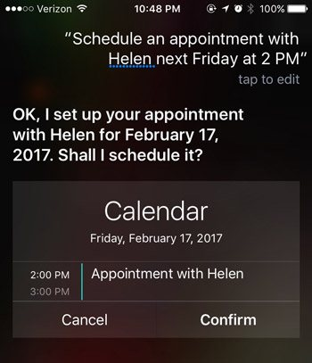siri commands calendar