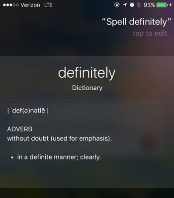 siri commands spelling