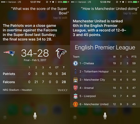 siri commands sports scores