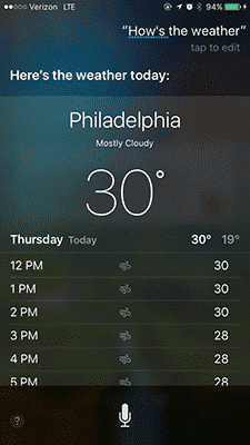 siri commands weather