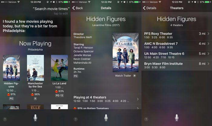 siri commands movie times