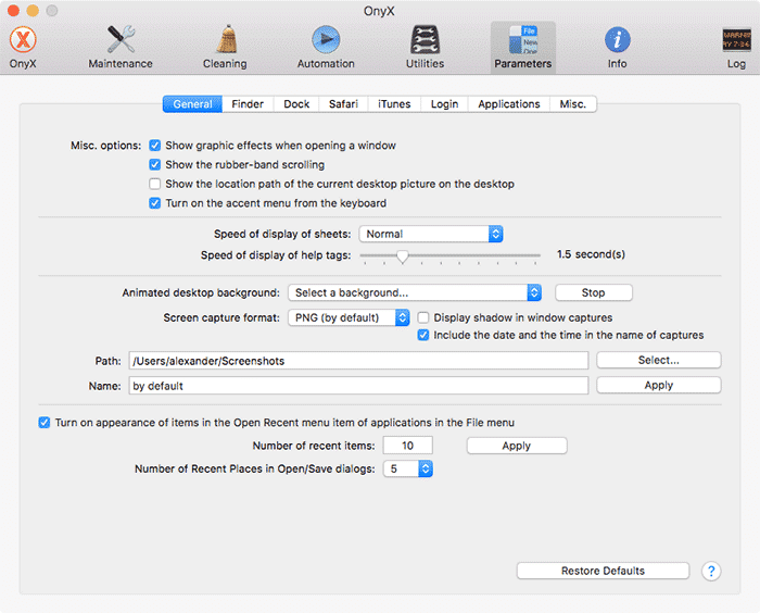 customize macos onyx-parameters-page-2
