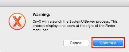 customize macos onyx-restart-systemuiserver