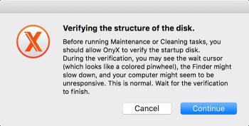customize macos onyx verify disk