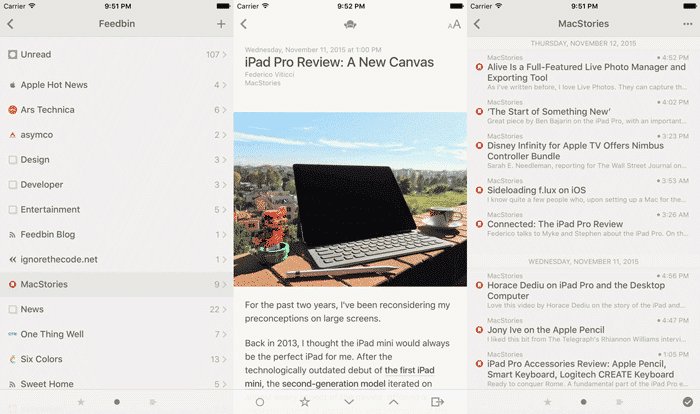 rss readers iphone ipad iOS reeder 3
