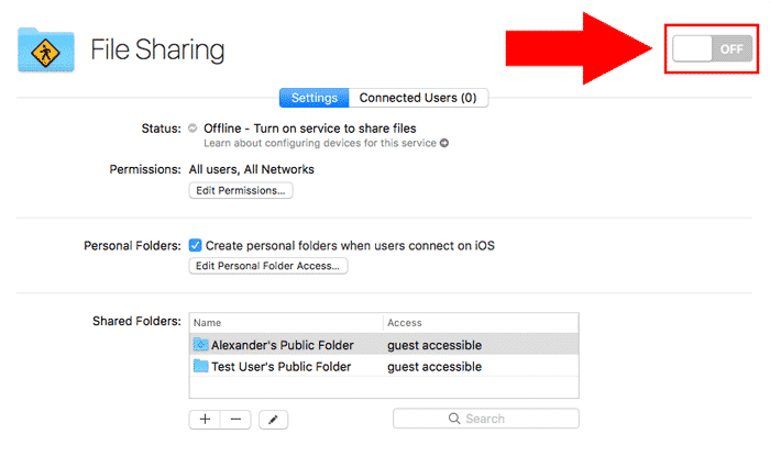macos server file sharing toggle