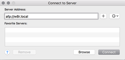 macos server enter server host name