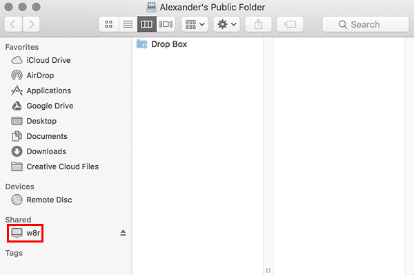 macos server folder mounted