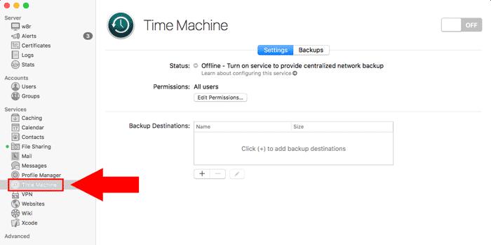 macos server time machine sidebar