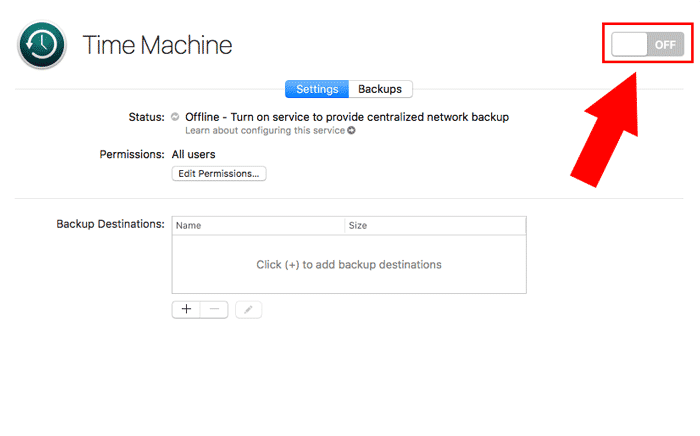 macos server time machine toggle