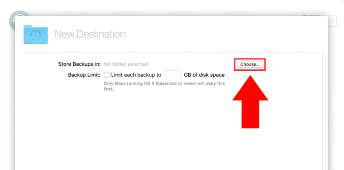 macos server time machine choose location