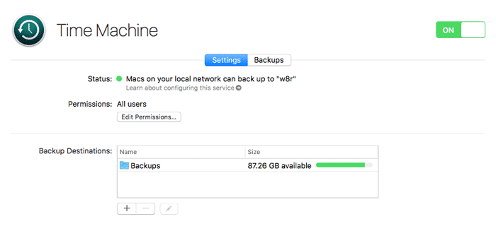 macos server time machine success
