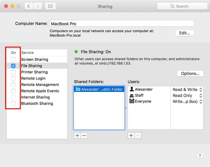 turn off network sharing mac