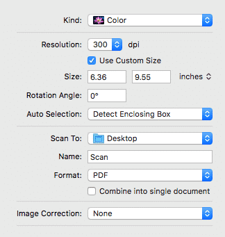 image capture scanning options