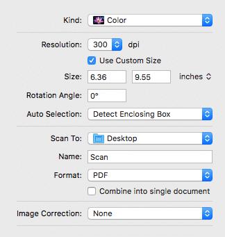 image capture scanning options