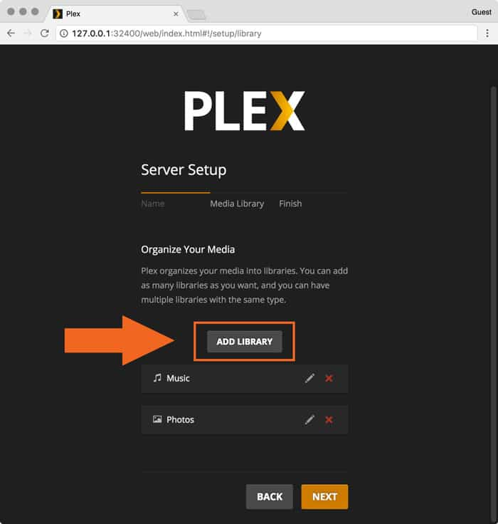 plex for macOS add library