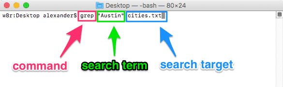 macos terminal grep syntax