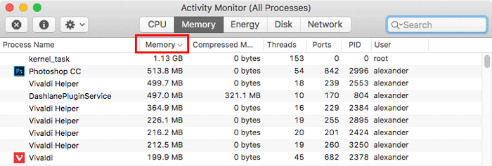 activity monitor memory management