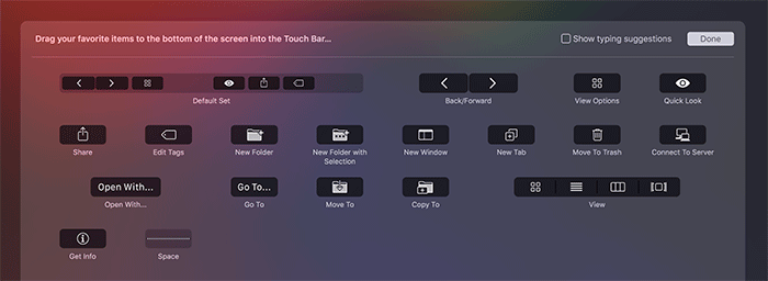 customize the touch bar finder menu