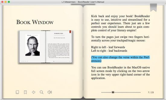 macos e-book reader app bookreader