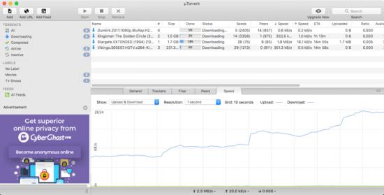 BitTorrent clients for macOS utorrent