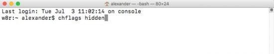 hide files on macOS chflags hidden