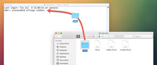 hide files on macOS copy path in terminal from finder