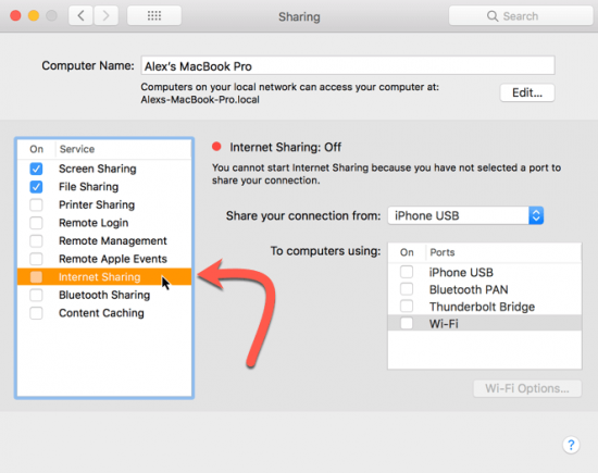 internet sharing menu create a wi-fi hotspot on your mac
