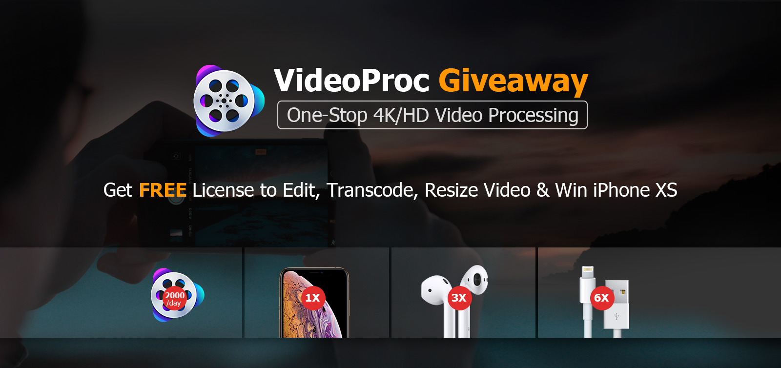 videoproc giveaway win iPhone XS and AirPods