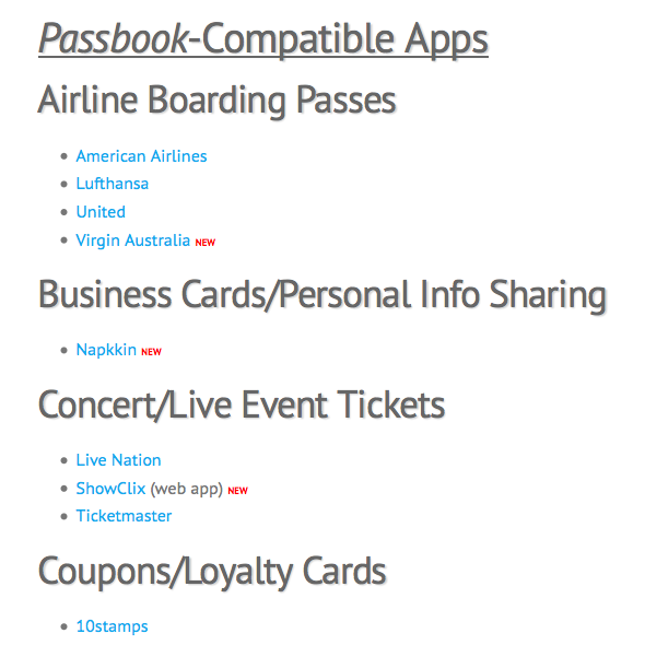 Passbook apps list updated apple gazette wanted to let our readers know that ten new couponloyalty cardticket sources have added passbook compatibility and weve added all of them to our colourmoves