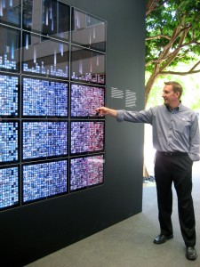 The MacWorld app wall on display in the Apple HQ atrium.