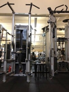 Weightlifting equipment at the Bandley Fitness Center on the Apple campus