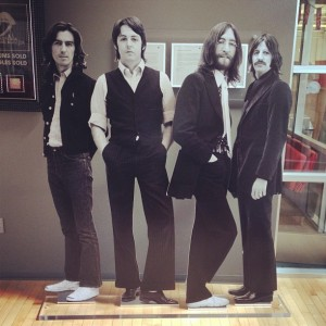 A standee of the Beetles, from somewhere inside Apple HQ