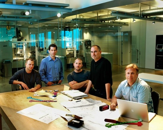 "A legacy ""Apple Team"" press photo, also taken inside the Design Lab"
